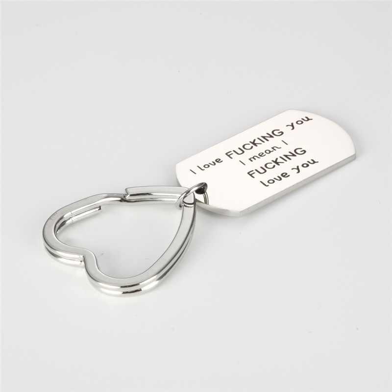 Vui Thiết Kế Không Gỉ Chữ Thép Không Gỉ Quyến Rũ Mặt Dây Chuyền Vòng Cổ Keychain Keyring Valentine của Ngày Giáng Sinh Quà Tặng