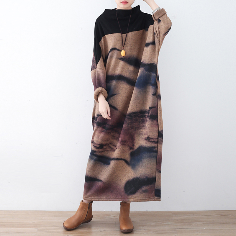 Johnature Women Vintage Dress 2019 ฤดูใบไม้ผลิใหม่แขนยาวพลัสขนาดเสื้อผ้าผู้หญิงคุณภาพ Robe แขนยาวคอเต่า Maxi ชุด-ใน ชุดเดรส จาก เสื้อผ้าสตรี บน   1