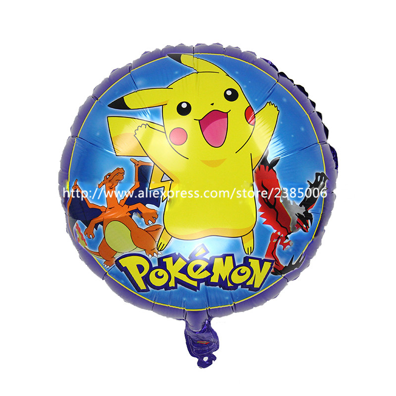 50pcs Pikachu pokemon Foil Balloons Inflatable toys Helium Balloons Children cla