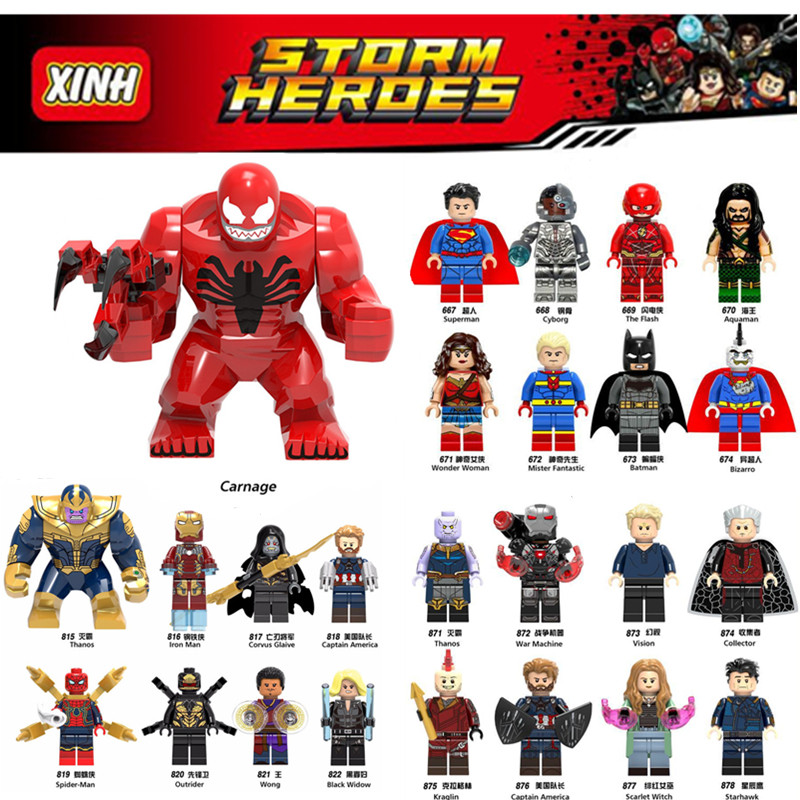 все цены на Diy Marvel Heroes super man carnage Loki Spider man Iron Man Deadpool venom Avengers legoings Building Blocks Toys Figures