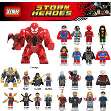 Diy Marvel Heroes super man carnage Loki Spider man Iron Man Deadpool venom Avengers legoings Building Blocks Toys Figures(China)