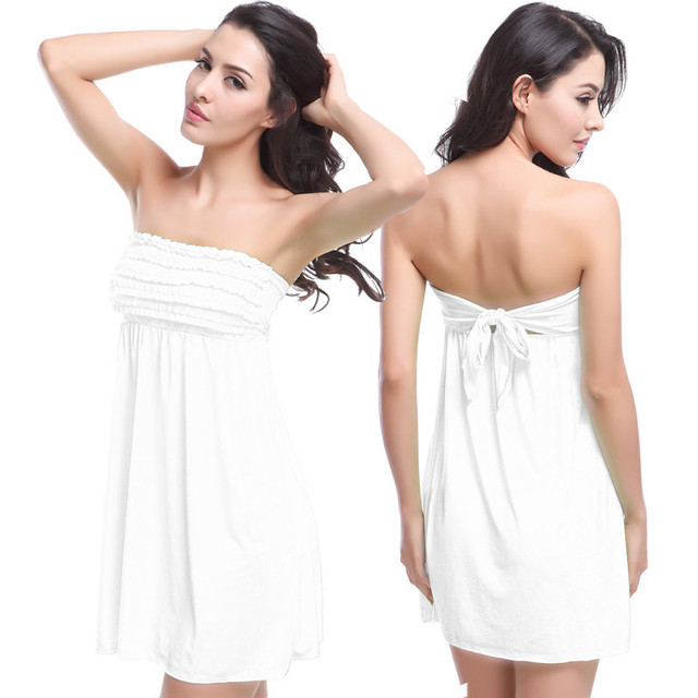 Y White Strapless Vintage Small Ruffles Top Beach Dresses Cover Ups Wrap Round Skirt