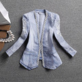 2017 New Fashion Spring Autumn Women Long Sleeve Slim Denim Jacket Ladies Lace Embroidery Casual Jeans Jacket Coat Z760