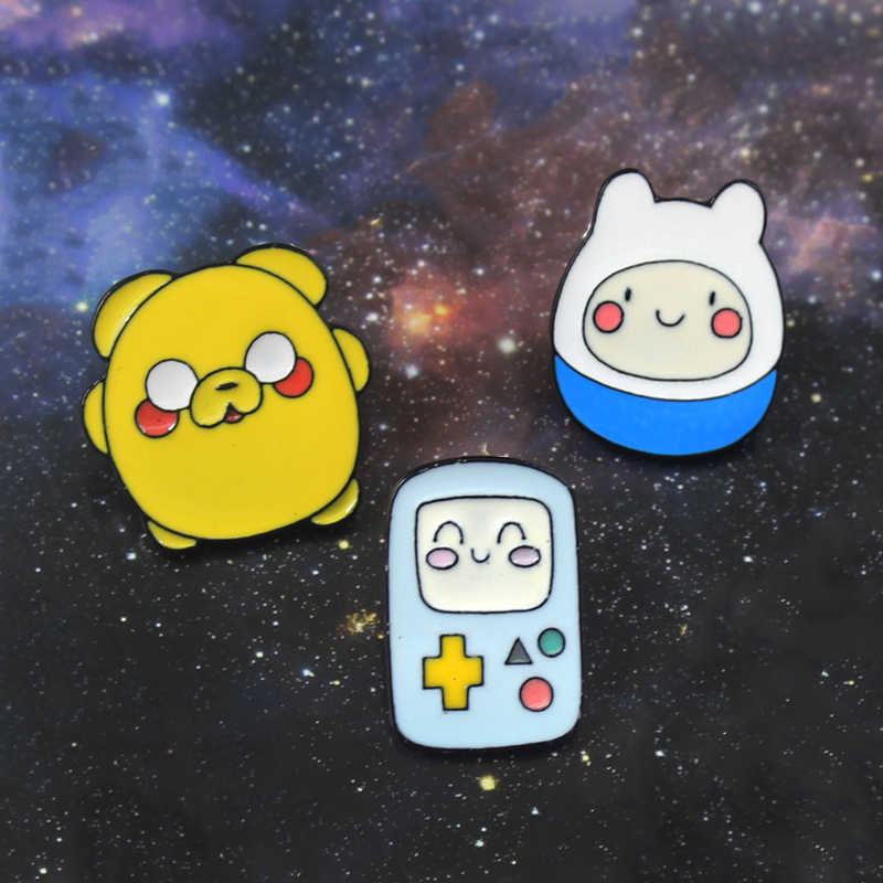 Karakter Kartun Film Bros Adventure Time BMO Finn dan Jake Enamel Pin Denim Ransel Lencana Anak-anak Lucu Fashion Hadiah