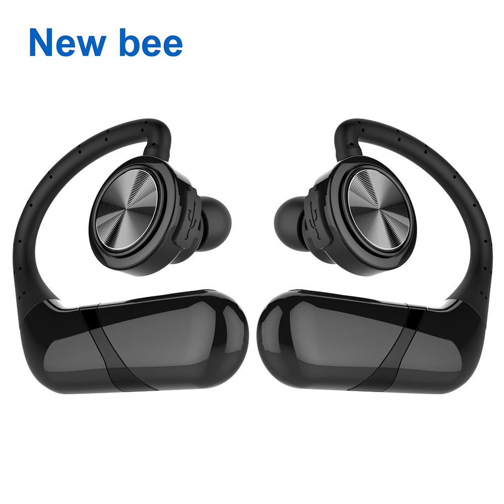 New Bee True Wireless Bluetooth Earphone TWS Stereo Waterproof Sport Headset Cordless Earbuds with Microphone for Phone Computer