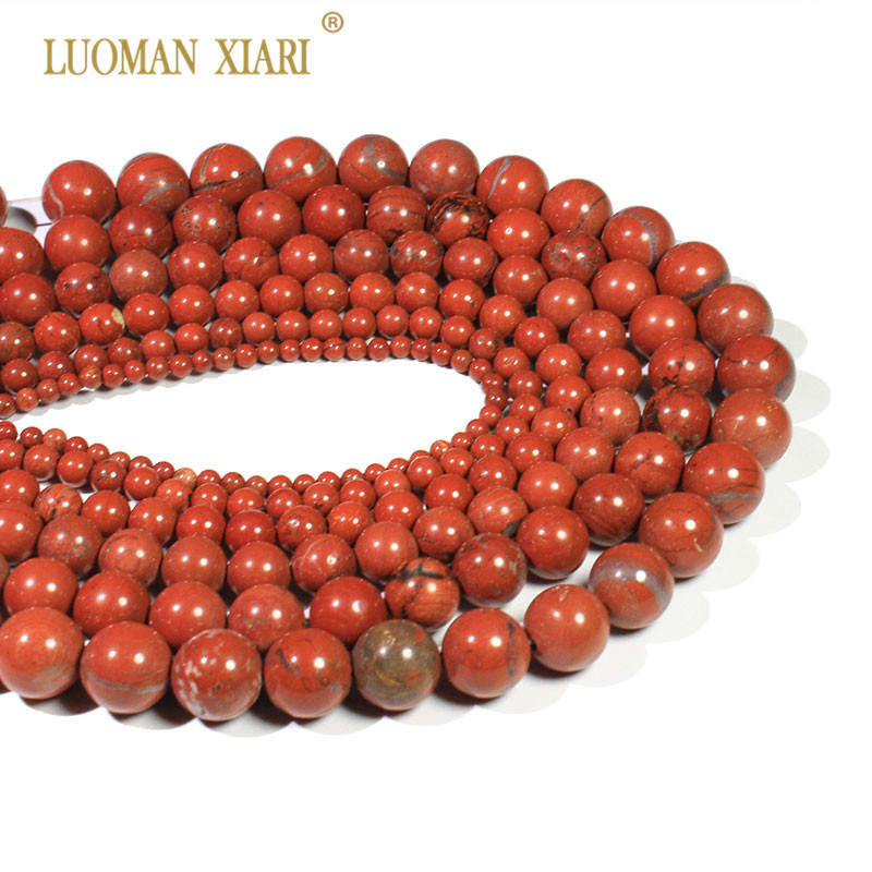 Wholesale Natural Round Red Jaspers Stone Beads For Jewelry Making DIY Bracelet Necklace Material 4/ 6/8/10 /12 Mm Strand 15''