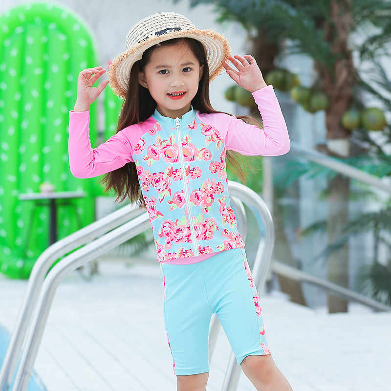 402975d750 Girl Two Pieces Swimsuit Toddler Baby Long Sleeve Sunproof Beach Swimwear  Children Sunblock Tops And Short