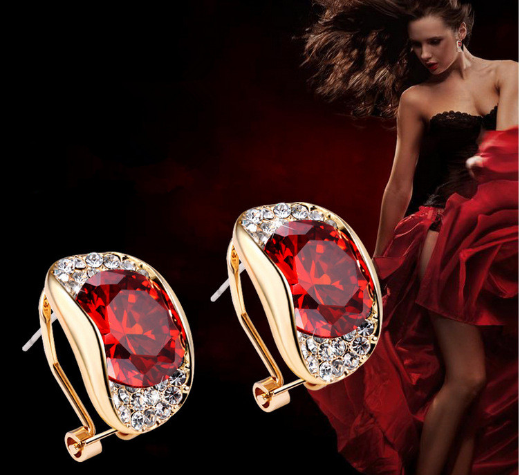 High quality purple red crystal AAA cubic zircon stud earrings for bridal dinner dress accessories
