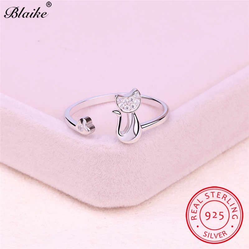 Blaike Real 925 en argent Sterling ouverture animaux chat anneaux pour femmes blanc cristal bague de mariage réglable femme coréenne bijoux