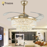 TRAZOS 42 Inch LED Modern Crystal Ceiling Fan Lamp Living Room Bedroom Retractable Ceiling Fans With Lights Remote Control 220v