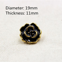 1512268,19mm 10pcs, high quality Black color flowers classic fashion buttons clothes clothes-diy handmade materials