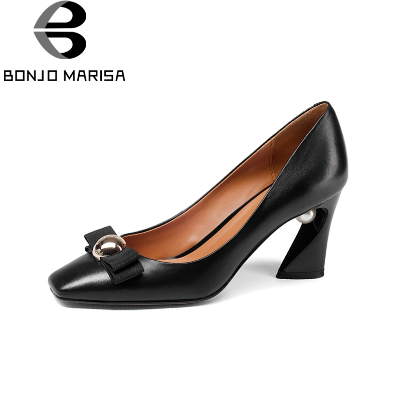 BONJOMARISA New women's Genuine Leather Square High Heels Metal Decoration Shoes Woman Fashion Spring Pumps Big Size 33-43 keaiqianjin woman patent leather pumps plus size 33 43 high shoes spring autumn metal decoration black genuine leather pumps