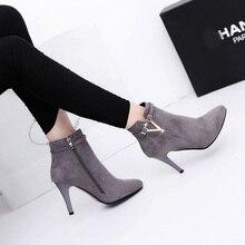 Women high heels boots shoe New Fashion Sexy High-Heeled Female Pointy-Toe Kitten-Heel Ankle Boots Women Classic-Shoes Wholesale цена в Москве и Питере