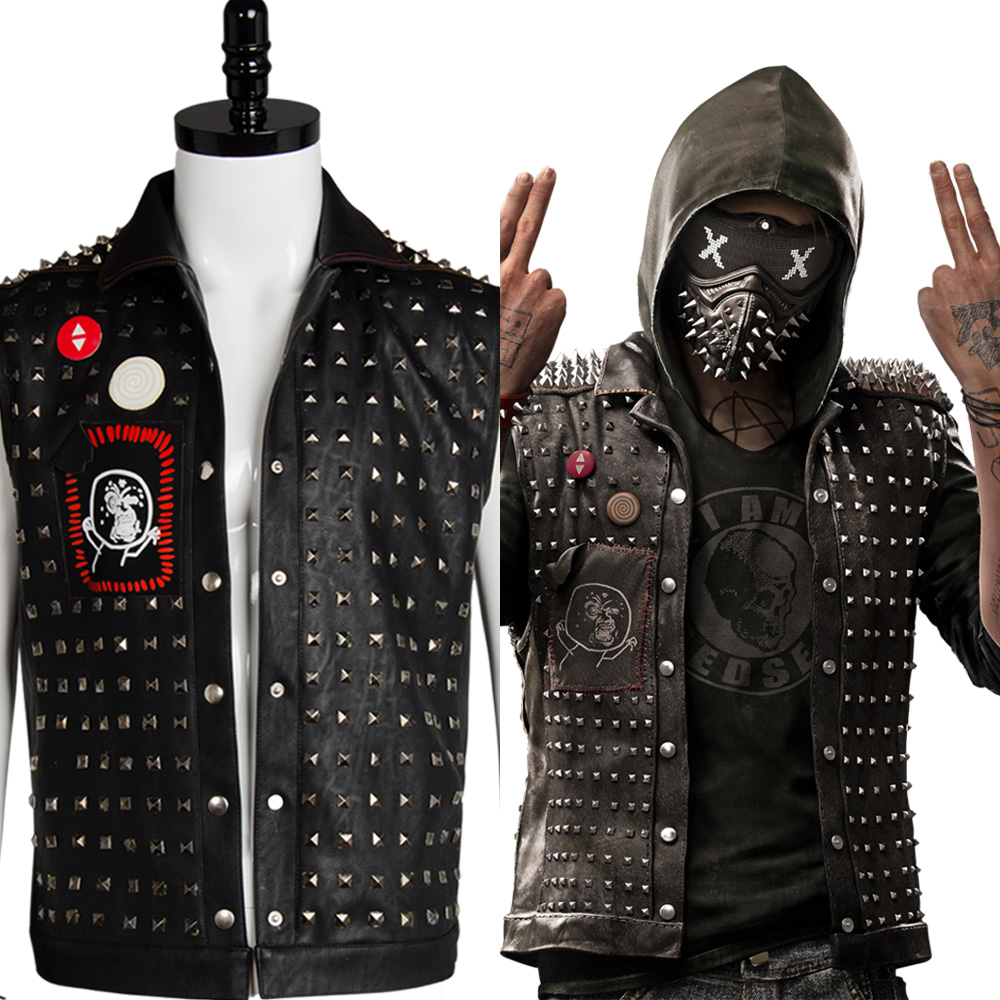 New Original Watch Dogs 2 Wrench I am Dedsec Shawn Baichoo Vest Uniform Cosplay Costume For Men Black Coat Halloween Party муфты ганзена