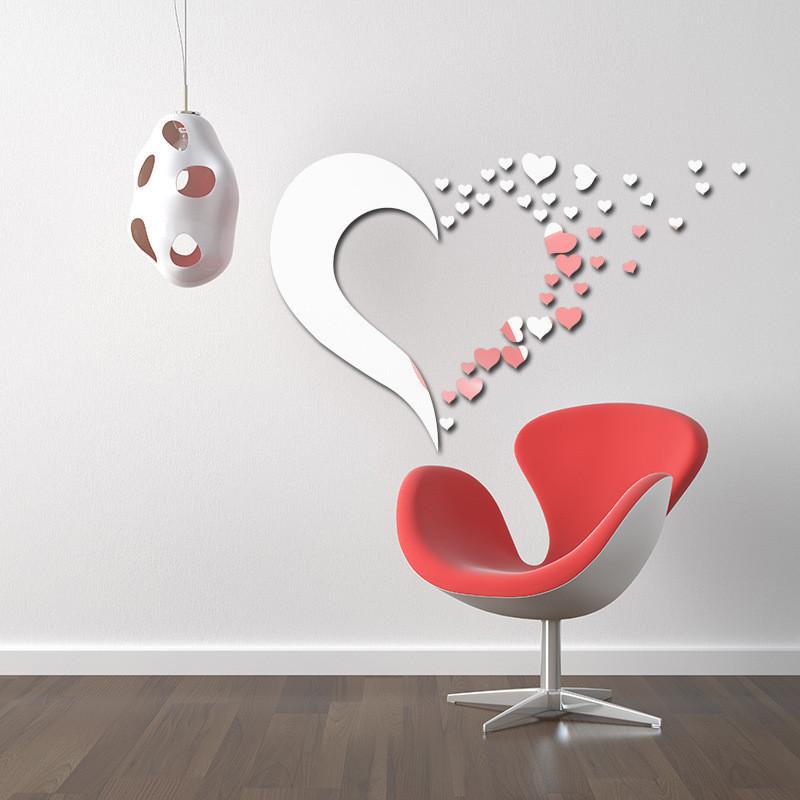 amor en forma de corazn de acrlico efecto espejo etiqueta de la pared creativa forma de