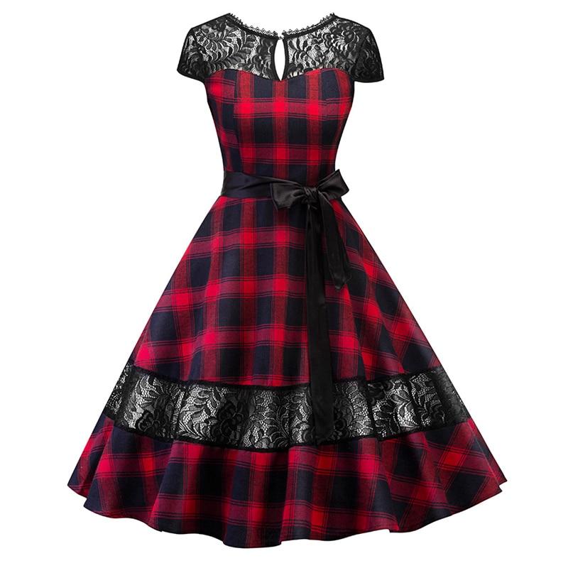 2colors 1950s Hepburn dress English tartan checks plaid lace dress with sash pin up rockabilly swing flare dress robe vestidos