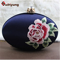 New Fashion Chinese Satin Embroidered Flowers Women Clutch Bag Wedding Crystal Day Clutches Ladies Party Evening Bag Handbag