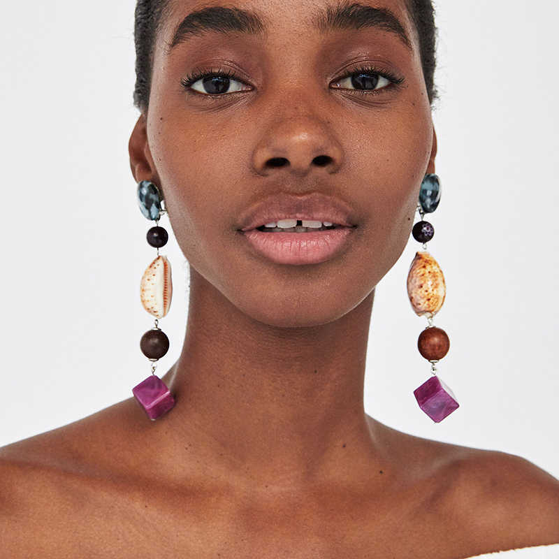 AYAYOO Big Long Colorful Drop Earrings Women 2018 Bohemian Beads Fashion Earrings Female Wedding Za Handmade Boho Jewelry