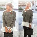 Moda Tripulação Mulheres Long Neck Luva Frouxo Malhas Fêmea Laço Patchworkloose Camisola Tops pullover Suor NOVA Venda Quente