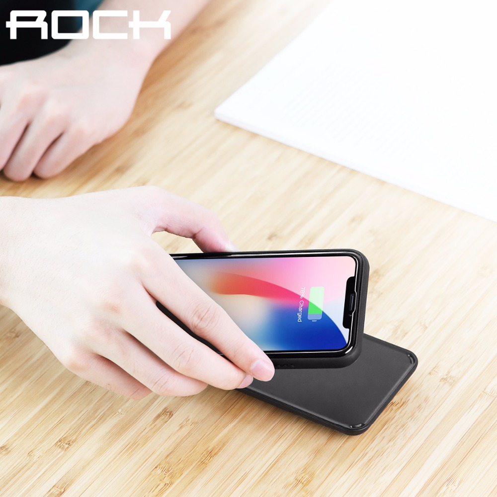 ROCK QI 5000mAh Wireless Power Bank Case for iPhone X, Ultra Slim External Backup Battery Charger Case for iphone X