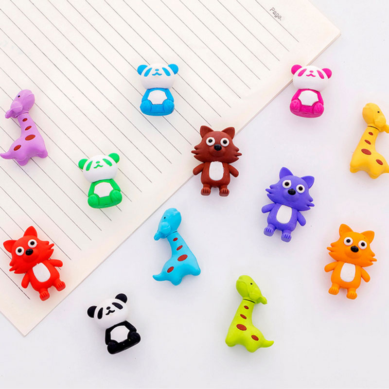 4pcs/lot Cartoon Panda Rubber Eraser Art School Supplies Office Stationery Novelty Pencil Correction Supplies