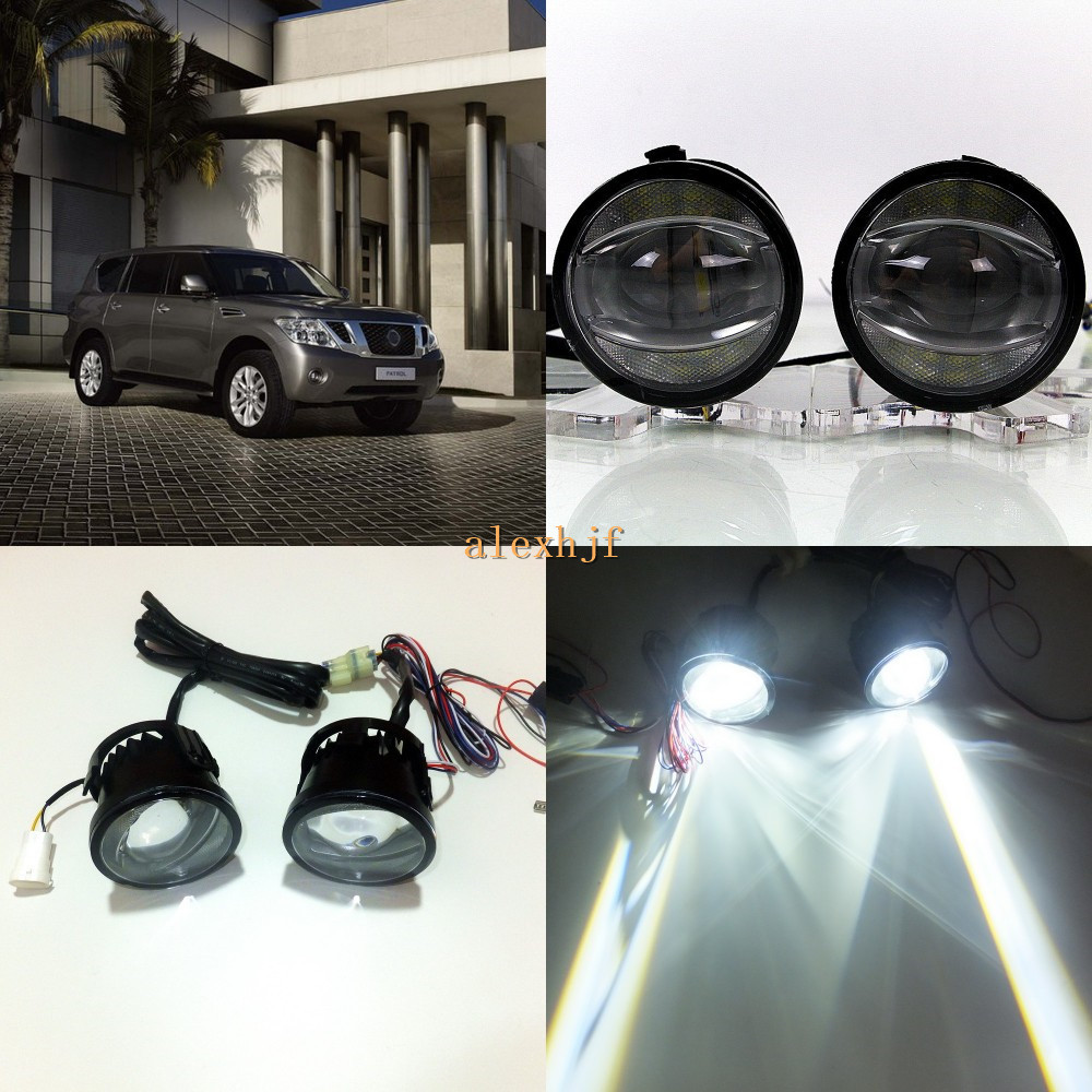 July King 1600LM 24W 6000K LED Light Guide Q5 Lens Fog Lamp +1000LM 14W Day Running Lights DRL Case for Nissan Patrol Y62 2011+ for opel astra h gtc 2005 15 h11 wiring harness sockets wire connector switch 2 fog lights drl front bumper 5d lens led lamp