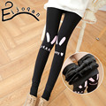 Новая зимняя утолщение полиамид милый мультфильм печатных леггинсы больших размеров теплые топтать ноги штаны женский B015
