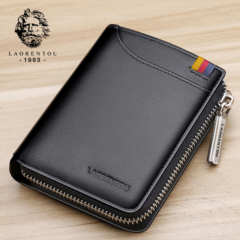 LAORENTOU Short Wallet Purse Zipper Genuine-Leather Card-Holder Male Standard Man Casual