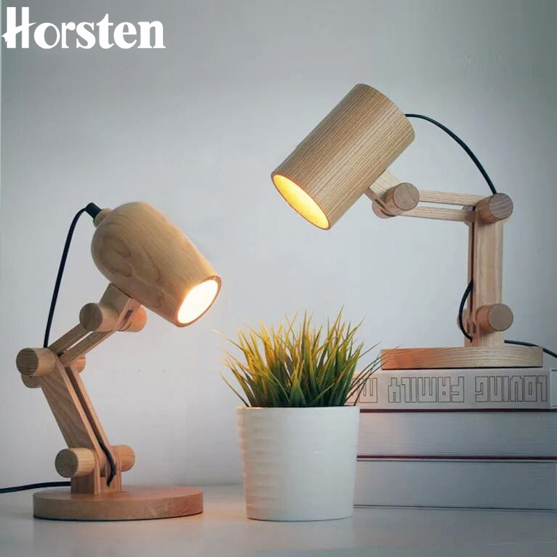 Horsten Design Wood Table lamps Desk light Living Room Bedroom Decoration 110-240V Solid Wooden Table Lamp lighting Home Decor novelty magnetic floating lighting bulb night light wood color base led lamp home decoration for living room bedroom desk lamp
