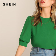SHEIN Ladies Casual Green Puff Sleeve Keyhole Back Solid Top And Blouse Women Summer Workwear Half Sleeve Elegant Blouses