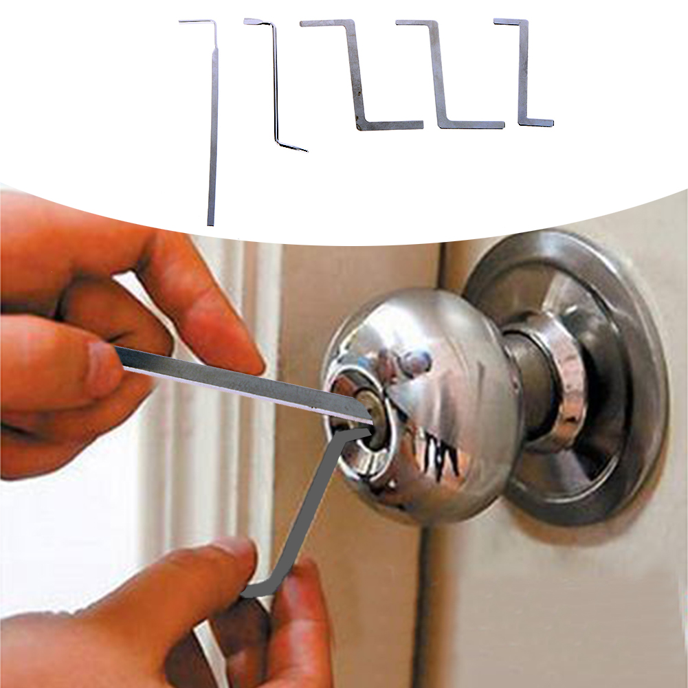 5pcs Locksmith Lock Pick Set Stainless Steel Double Row Tension Removal Hooks Lock Picks Lockpick(China)