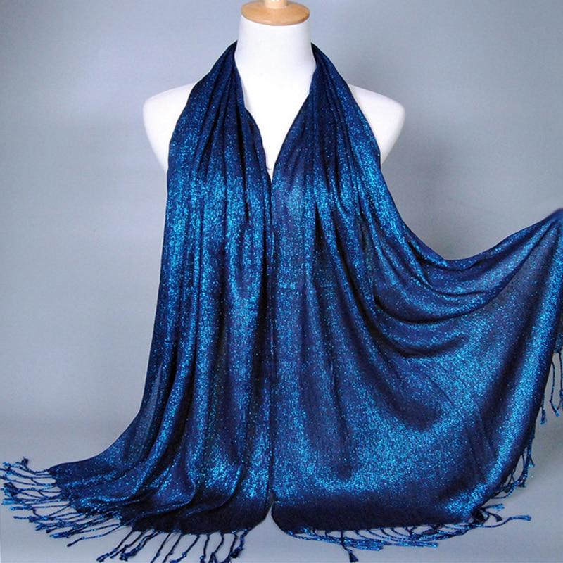 KL226 Muslim Hijab Fashion Tassel Headscarf Turban Women Head Coverings Gold Thread Hoofddoek Scarves 170-60CM