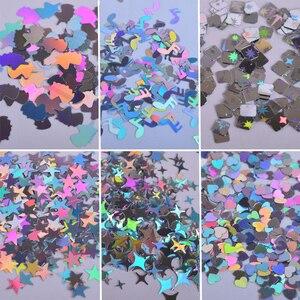 Image 2 - 1 fall Laser Pailletten für Nägel Silber Glitter Dreieck Stern Holographische Flakes Paillette Werkzeug Nagel Kunst Dekoration Maniküre JI645