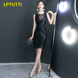 Image 2 - LPTUTTI Sequin New Sexy Woman Plus Size Social Festive Elegant Formal Prom Party Gowns Fancy Short Luxury Cocktail Dresses