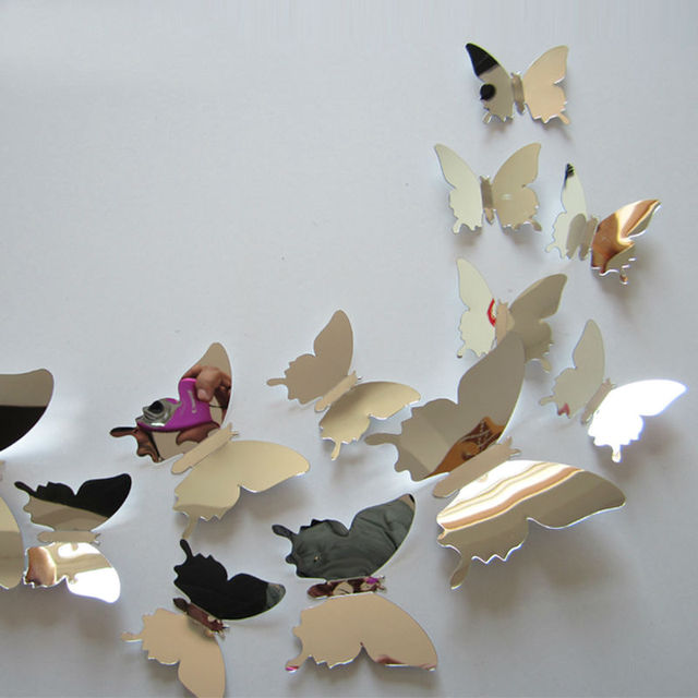 flying butterfly free shipping children's room mirror wall sticker home decoration 12 pcs / lot plastic mirror home decor
