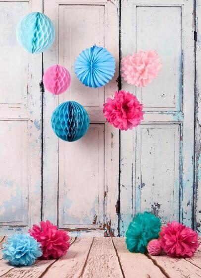 Charming 11pc Tissue Balls Set Accordion Lanterns Paper Honeycombs Tissue Pom Poms  Decoration Set For Birthday Wedding Idea