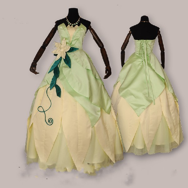 Customized Famous Movie The Princess And The Frog Princess Tiana Long Sexy Dress -3557