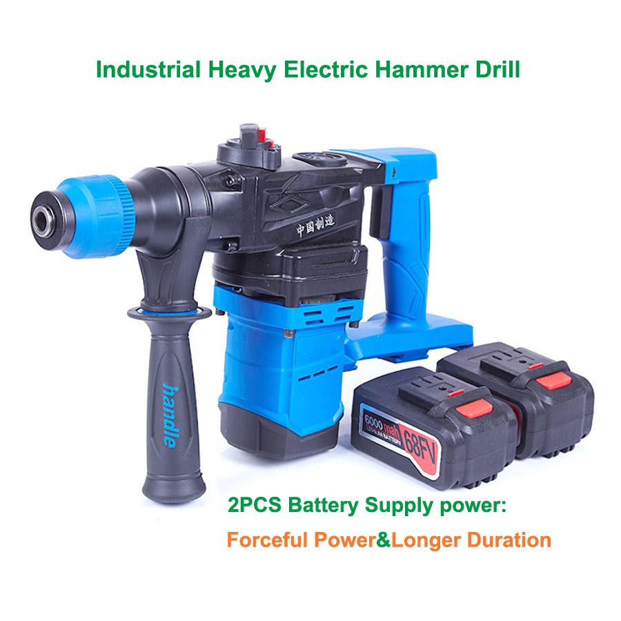 HTB12h6Sa17JL1JjSZFKq6A4KXXaq - 5000 10000mAh Heavy Wall Hammer Cordless Drill Rechargeable Lithium Battery Multifunctional Electric Hammer Impact Drill