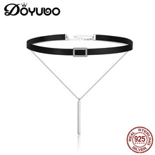 DOYUBO Vintage 925 Sterling Silver Black Velvet Leather Torquest With Square CZ Charms Women's Two Strings New Necklaces AKK019 image