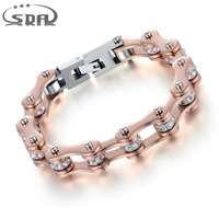 Top Quality IP Rose Gold Plated Crystal Motorcycle Chain Bracelet For Women 316L Stainless Steel Biker