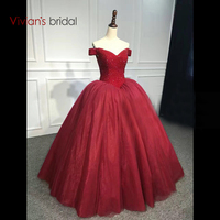Off Shoulder V Neck Burgundy Princess Ball Gown Wedding Dress Sequin Sleeveless Wedding Gown Floor Length
