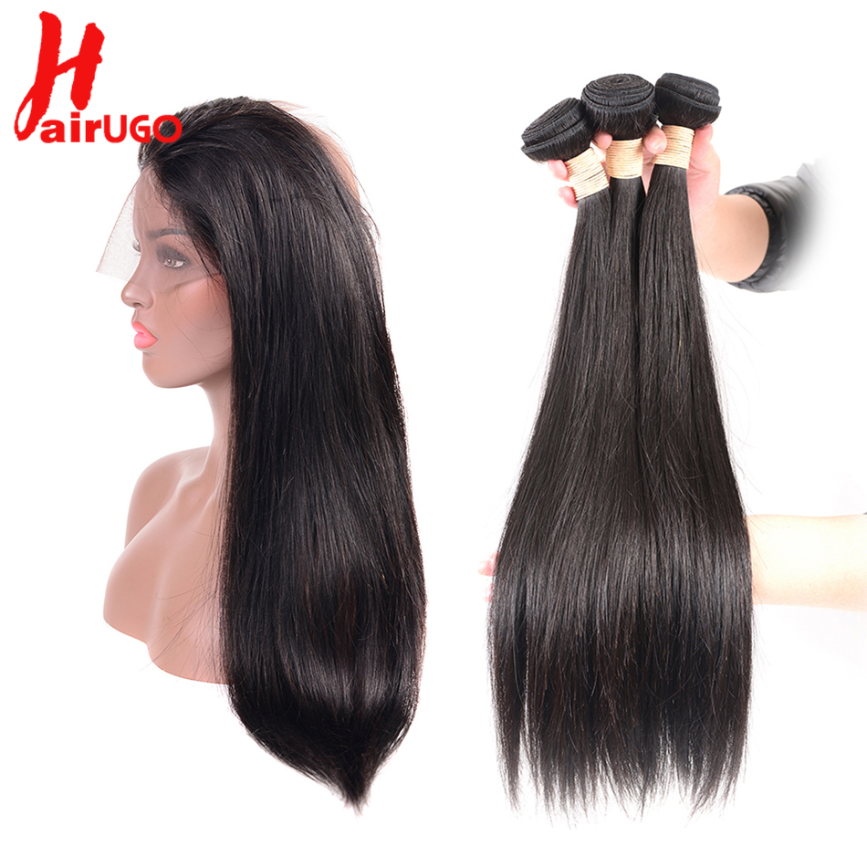 HairUGo Brazilian Straight Hair 360 Lace Frontal With Bundles Human Hair 2 3 Bundles With Closure