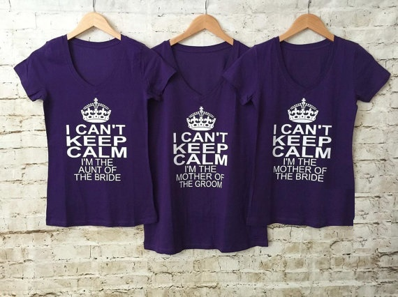 Customize Keep Calm Wedding Bride V Neck Bridesmaid T Shirts Bachelorette Bridal Party Tanks Tops Vests Gifts Favors