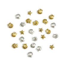 100pcs 3mm/5mm Metal Seashell & Starfish Set Design DIY Alloy Nail Studs UV Gel Art Decoration Stones For Nails 3D Stud