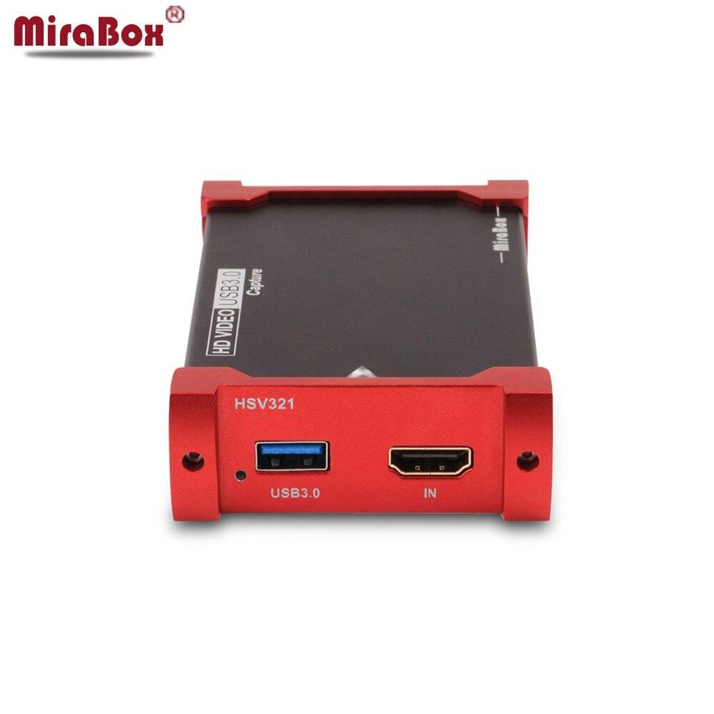 MiraBox Caixa Full HD USB3.0 HDMI placa de Captura de Vídeo Suporte 1080 P Windows/Linux/Mac HDMI Loop-0ut Captura Dongle Para USB UVC UAC