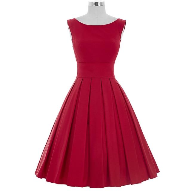 80f0b32c9538 € 36.14 11% de DESCUENTO|Spandex de nylon verde mujeres casual dress  rockabilly 50 s verano sin mangas de la vendimia vestidos túnica de algodón  ...