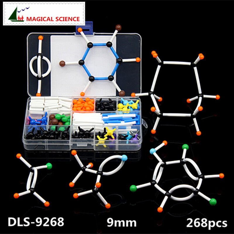 268pcs Molecular Model Set DLS-9268 Organic Chemistry Molecules Structure Model Kits For School Teaching Research 9mm Series molecular structure model set for chemistry teacher dls 23540 chemical crystal models inorganic organic molecules free shipping