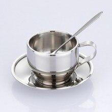 125 ml hochwertigem stahl tasse untertasse und löffel set edelstahl doppelwand kaffeetasse