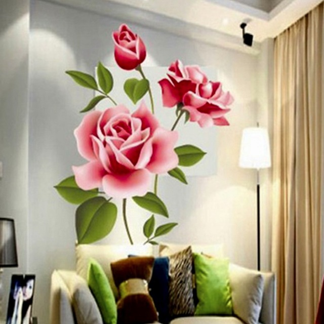Romantic Love 3D Rose Flower Blossom Wall Stickers Furnishings  Living Room TV Decoration Wall Sticker Home Decor Decal Art