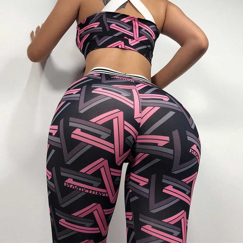 Sports   Leggings   Pants purple geometric Women Fitness Rapper gymshark high waist push up Gym Training Sports Running   Legging